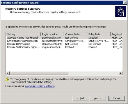 Security Configuration Wizard Registry Settings Summary