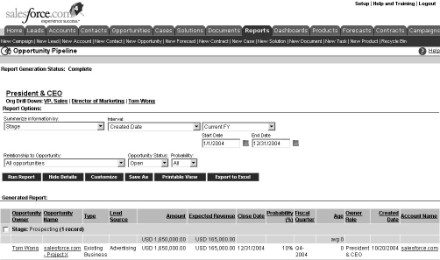 Figure 15-8: Using the report options section to customize your date range.