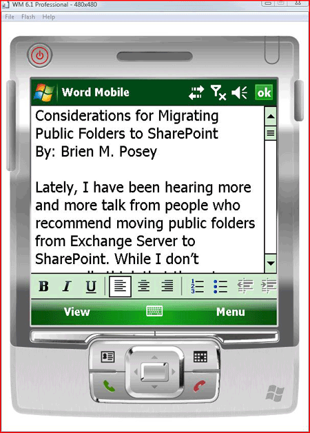 SharePoint document accessed on a Windows Mobile device