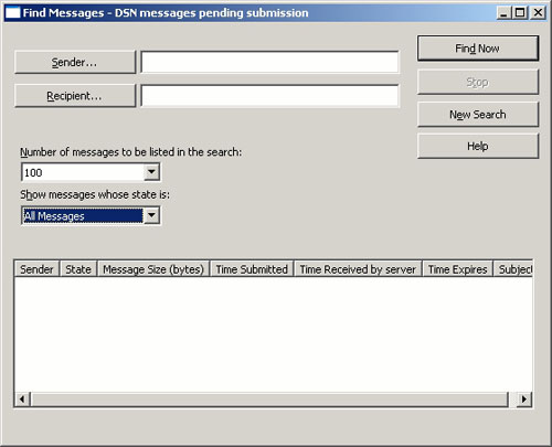 Figure B: The Find Messages dialog box allows you to search the SMTP queues for specific messages.