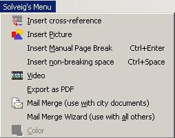 OpenOffice.org menu