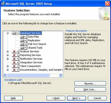 Choose SQL Server installation components