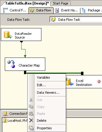 Export sql server data to an excel file using ssis and visual studio character map data flow component connecting to the excel destination ibookread