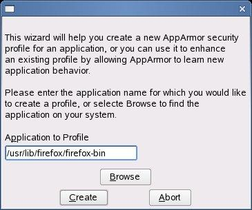 Using SUSE AppArmor to profile a workstation application in FireFox