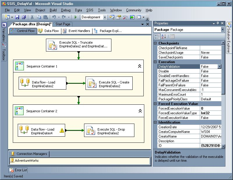 Open SSIS packages without validation using these SQL properties