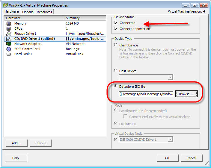 Five options for installing CD or DVD data on VMware virtual
