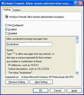 Enabling the remote administration exception