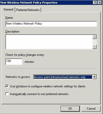 The General tab allows you to configure the types of networks that you want to allow clients to connect to.