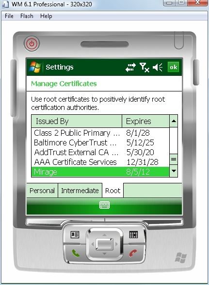 identify certificate authorities from an emulated Windows Mobile device