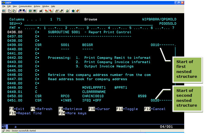 Documenting nested program structures on the AS/400