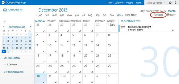 Sharing OWA calendars