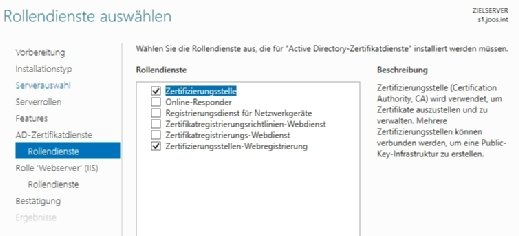 Die Installation der Active Directory-Zertifikatsdienste erfolgt mit einem Assistenten.