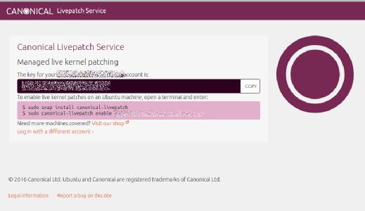 Nachdem Sie das Token haben, ist der Canonical Livepatch Service mit nur zwei Zeilen installiert.