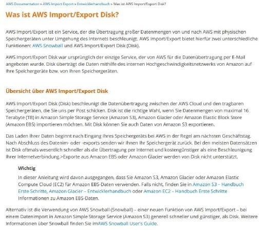 Bei AWS können Firmen beispielsweise per Snowball-Appliance oder mithilfe klassischer Festplatten die Daten in die Cloud verlagern.