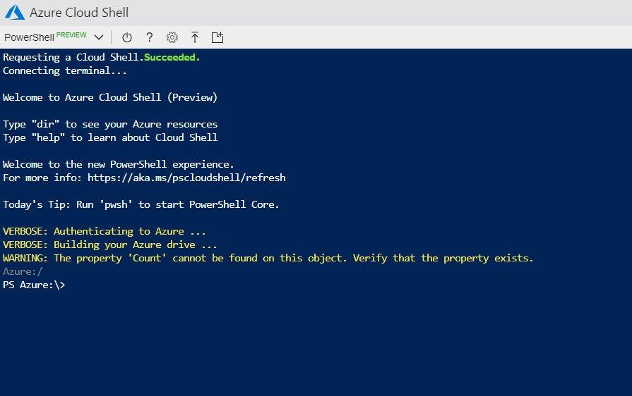 Abbildung 1: Mit Hilfe von Azure Cloud Shell können Administratoren über einen Webbrowser mit einer Shell Microsoft Azure verwalten.