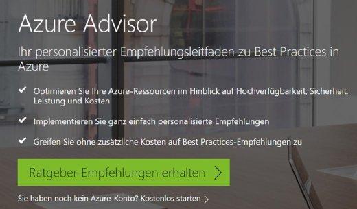 Die Empfehlungen von Azure Advisor lassen sich direkt über eine Schaltfläche für ein Azure-Abonnement generieren.