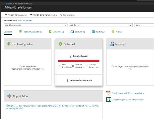 Azure Adivsor zeigt Empfehlungen zur Verbesserung von Azure-Ressourcen an.