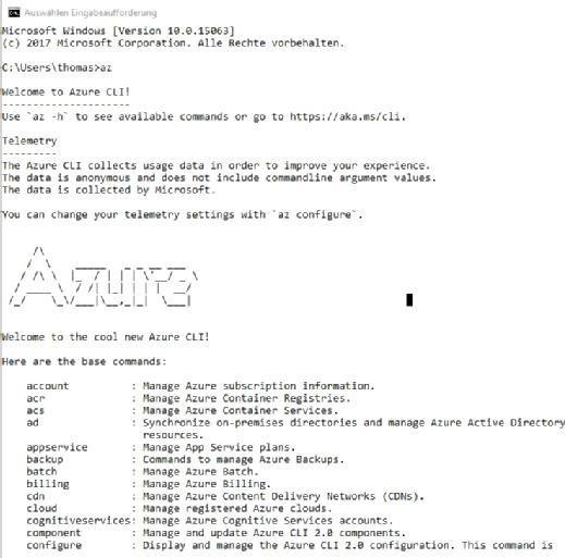 Mit der Azure CLI lassen sich Skripte in der Befehlszeile von Windows ausführen, aber auch unter Linux und macOS X.