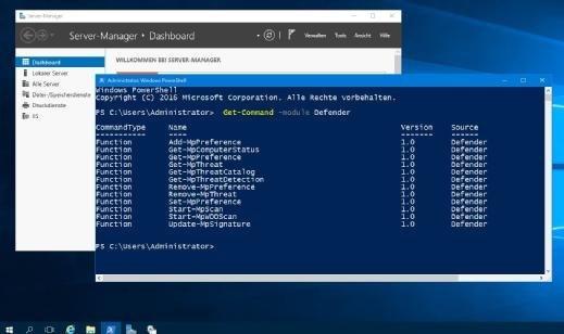 Auf dem Server 2016 ist der Windows Defender als Standard vorhanden, wenn auch die neue Oberfläche des Defender Security Centers dort noch nicht Einzug gehalten hat. Die PowerShell-Cmdlets können trotzdem problemlos eingesetzt werden.