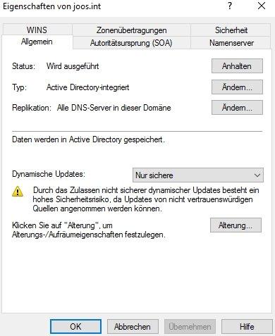 Abbildung 2: Über das Festlegen der dynamischen Updates lässt sich die sicheren DNS-Registrierung konfigurieren.