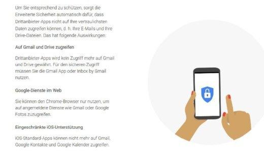 Mit dem Erweiterten Sicherheitsprogramm wird der Zugriff auf Google-Dienste für Drittanbieter-Anwendungen eingeschränkt.