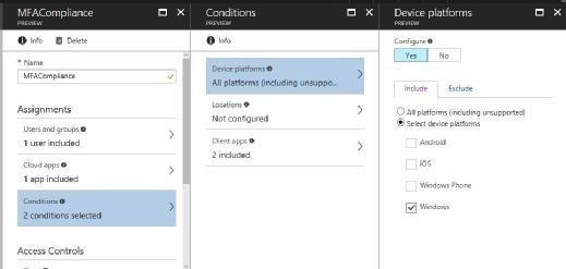 Die Bedingungen, wie hier etwa die Multifaktor-Authentifizierung für den Zugriff auf die Datei, können auf bestimmte Plattformen wie Windows beschränkt werden.