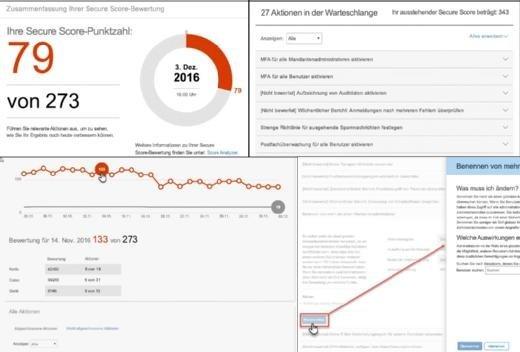 Nachdem die Punktezahl für die Sicherheit der eigenen Office-365-Landschaft ermittelt wurde, liefert Office 365 Secure Score Vorschläge, wie sich der Wert verbessern ließe. Im Score Analyzer kann man für jeden Tag ablesen, welche Änderungen stattfanden und wie sich diese ausgewirkt haben.