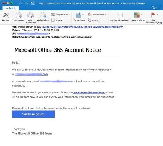 Phishing: Gefälschte Office-365-Mails im Umlauf