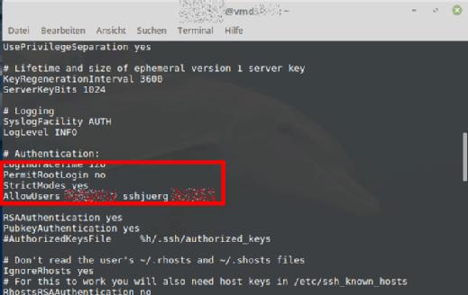 In unserer Konfiguration darf sich root nicht direkt anmelden. Nur Anwender sshjuerg hat die Rechte, sich via SSH anzumelden.