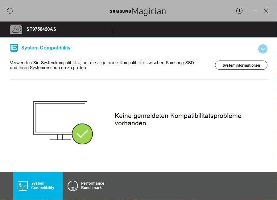 Anzeigen der Kompatibilität einer SSD mit Windows in Samsung Magician