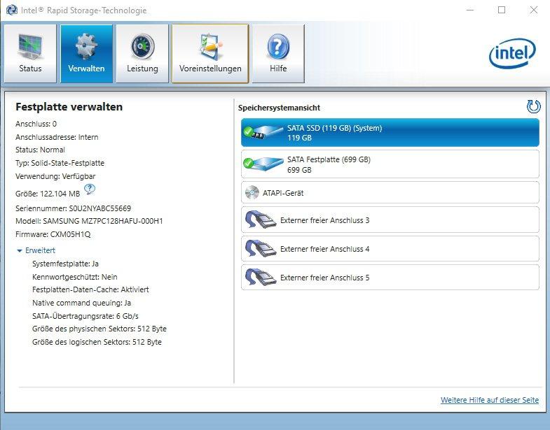 SSD mit Intel-Tool überwachen
