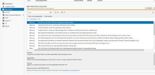 Der Best Practices Analyzer zeigt Konfigurationsfehler sowie deren Lösung an.