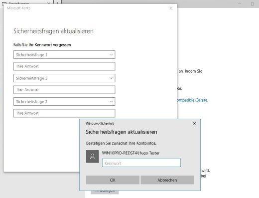Hilfe für den Nutzer mit einem lokalen Konto: Mit dem Redstone-4-Release bekommen diese Nutzer die Möglichkeit, ihr Passwort mit Hilfe von drei zuvor konfigurierten Sicherheitsabfragen einfacher zurückzusetzen.