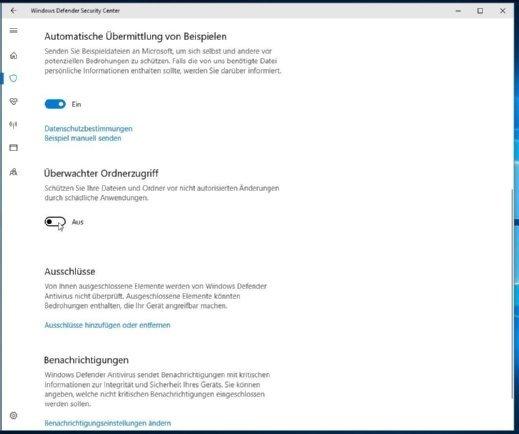"""Ein neuer Eintrag im Windows Defender Security Center: Mit Hilfe des sogenannten """"überwachten Ordnerzugriffs"""" sollen unter anderem Angriffe durch Ransomware verhindern werden können (Standardmäßig ist diese Einstellung nicht aktiviert)."""