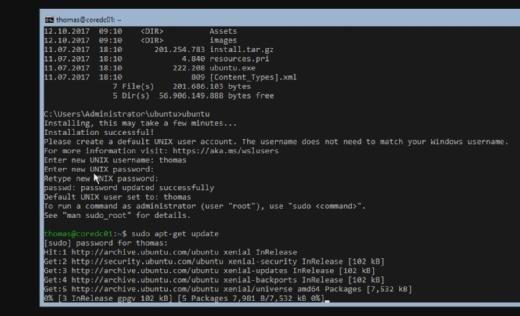 Windows Server 1709 bietet eine neue Shell für die Verwendung von Linux-Befehlen.