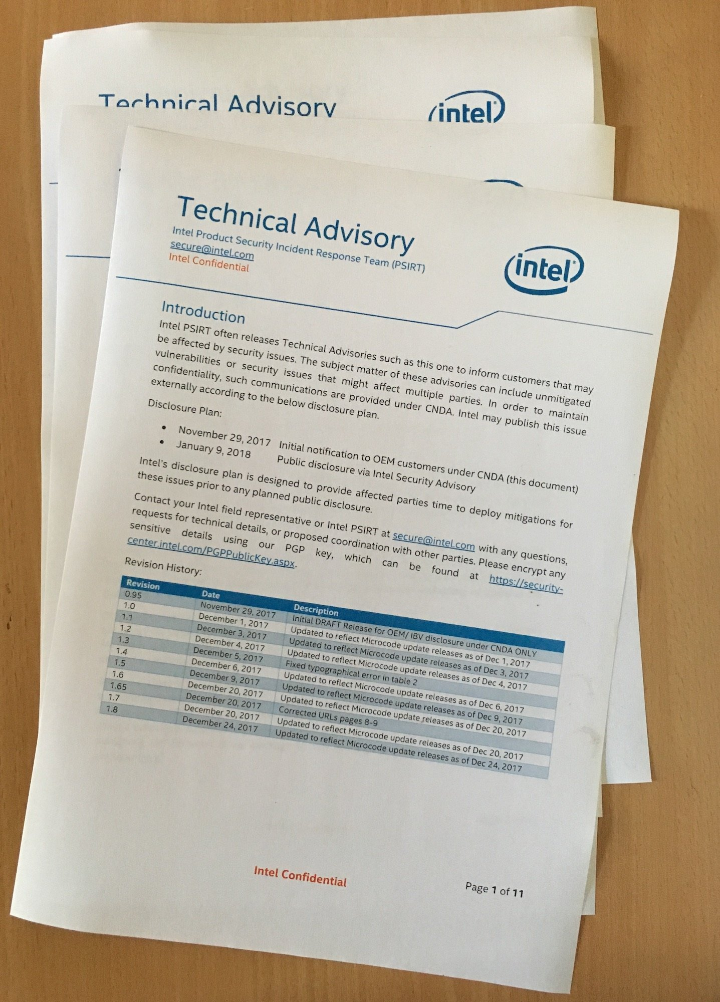 Intel advisory