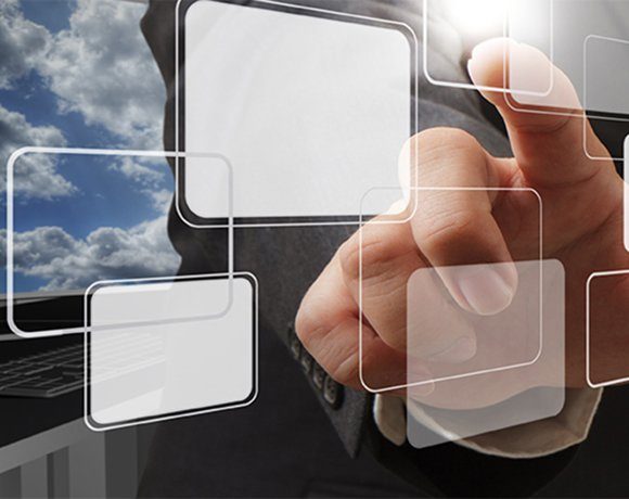 businessman hand point to virtual button as cloud network concept