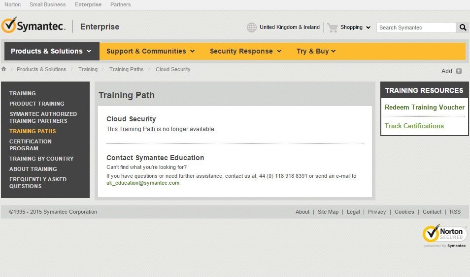 The Symantec Certified Professional-Cloud Security (SCP-CS) training path