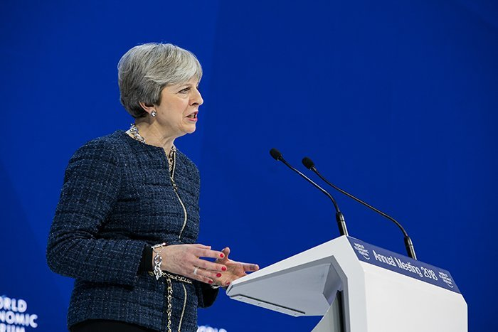 Theresa May speaks at Davos