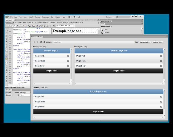 Adobe Dreamweaver includes a multi-screen preview to test
