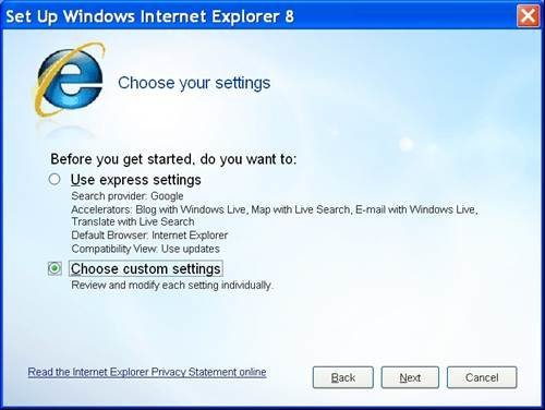 Internet Explorer 8 (IE8) - Set up custom settings, default