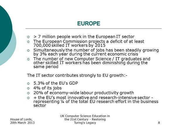 European Unemployment On The Increase Uk Computer Science Education In The 21st Century Restoring Turing S Legacy