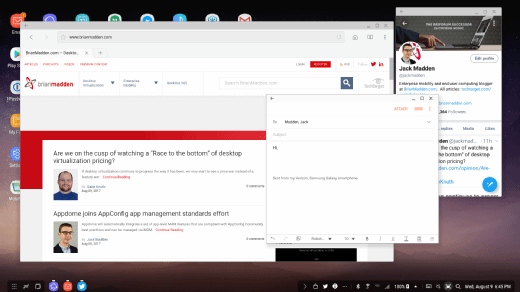 Screenshot of DeX Android desktop environment showing browser, Twitter client, and overlapping email window.