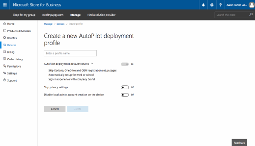 Creating a Windows AutoPilot profile.
