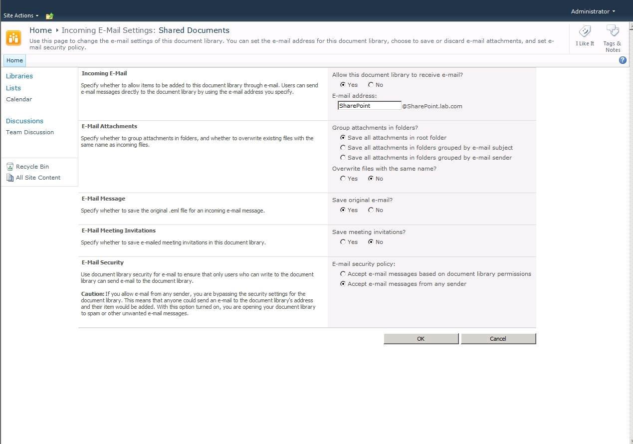 Linking Exchange to a mail-enabled SharePoint 2010 document