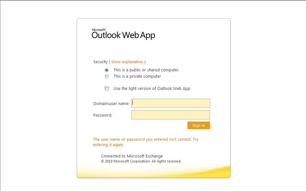 Outlook Web App 2010 doesn't explain that the user's password has expired.