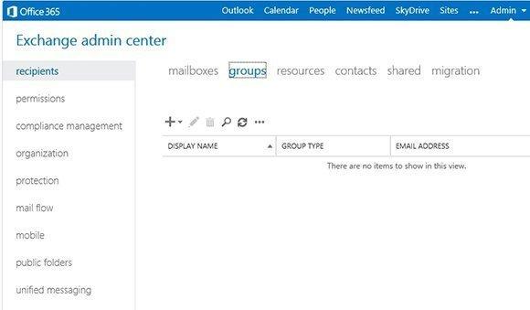 Office 365 Exchange Admin Center