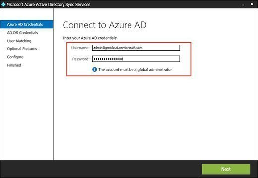 Login page for Azure AD Sync