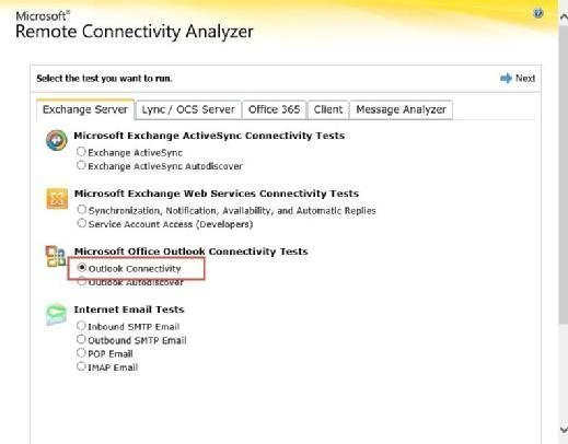 Remote Connectivity Analyzer for Outlook Anywhere