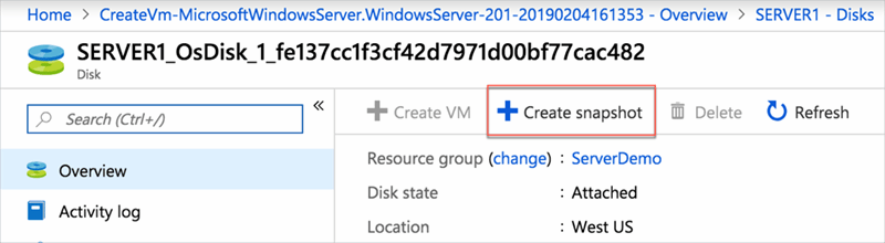 Back up VMs with Azure snapshots and managed disks